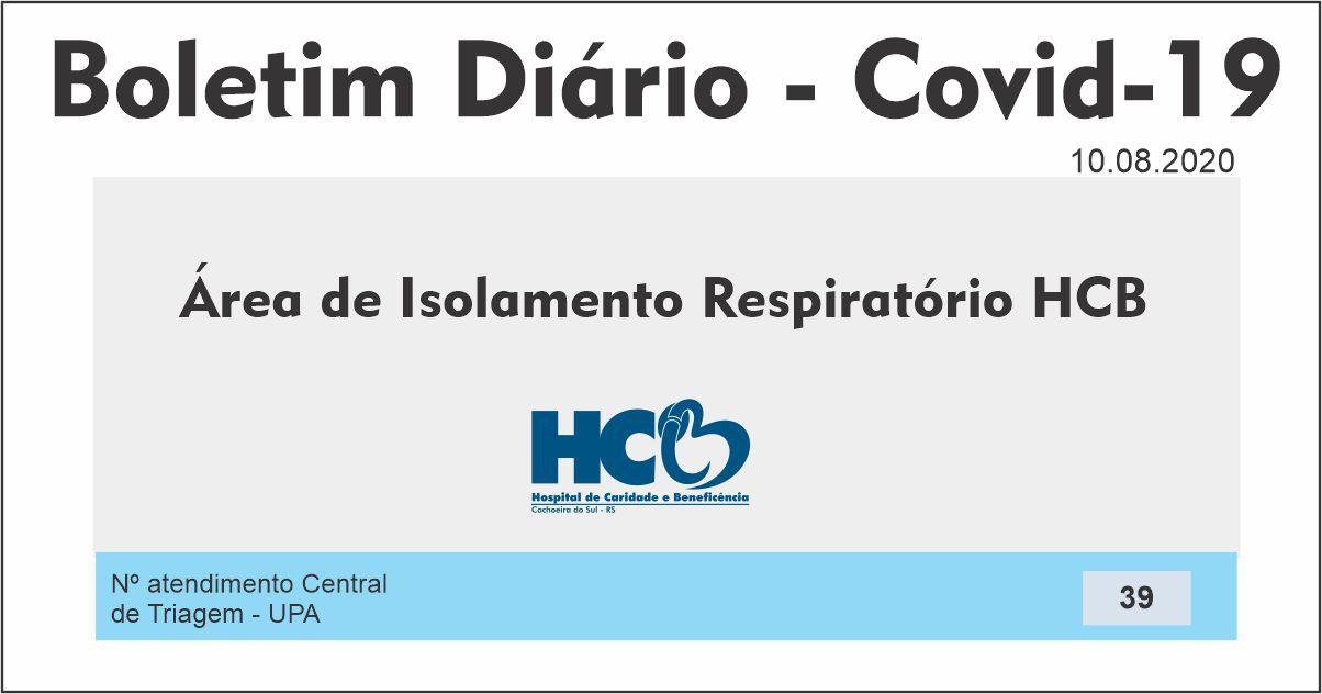 Boletim Diário - Área de Isolamento Respiratório COVID-19